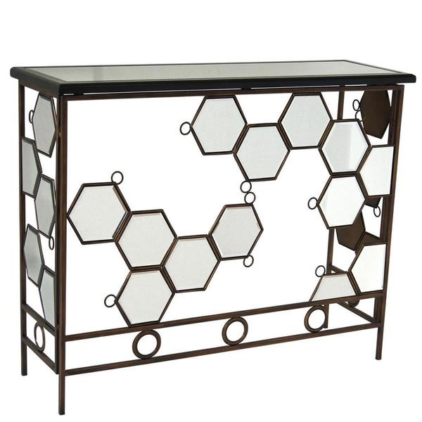 Diamond Antique Bronze Console Table with Mirror Detail