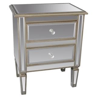 Eden Mirror Antique Silver Accent Table