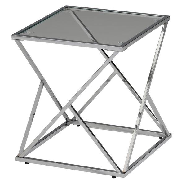 Geo Glass/Chrome Grey Accent Table