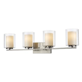Z-Lite Willow 4-light Clear Outer Glass and Matte Opal Inner Glass Shade Vanity