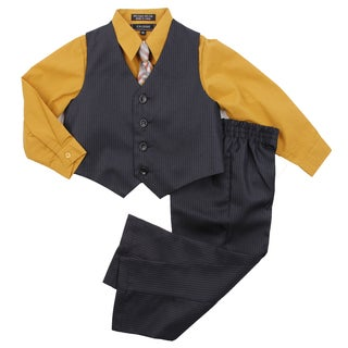 Infants Toddler Boys Black and Mustard 4-piece Vest and Pant Set