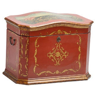 Life Chest Sicilian Hand-painted Deep Red Antique Bronze Hope Chest