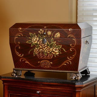 Deep Cherry and Rosewood Hand Painted Prague Life Chest