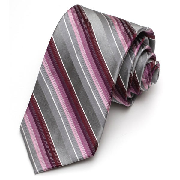 Alara Grey and Berry Modern Width Silk Tie