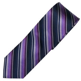 Alara Navy and Purple Modern Width Silk Tie