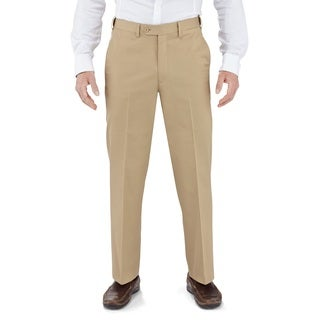 Winthrop & Church Men's Cotton Plain Front Straight Leg Dress Pants