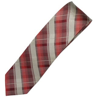 Alara Silver and Red Narrow Width Silk Tie
