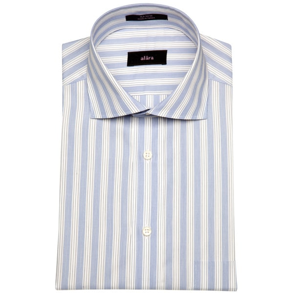 Alara St Tropez Medium Blue Stripe Mens Dress Shirt