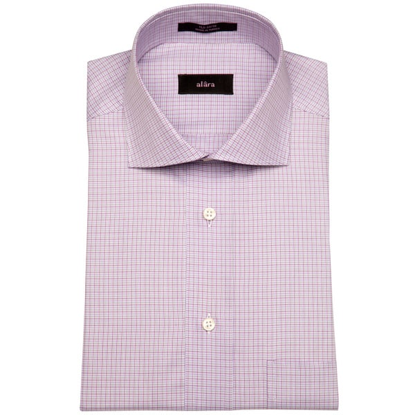 Alara Euro Collar Purple Baby Gingham Men's Dress Shirt