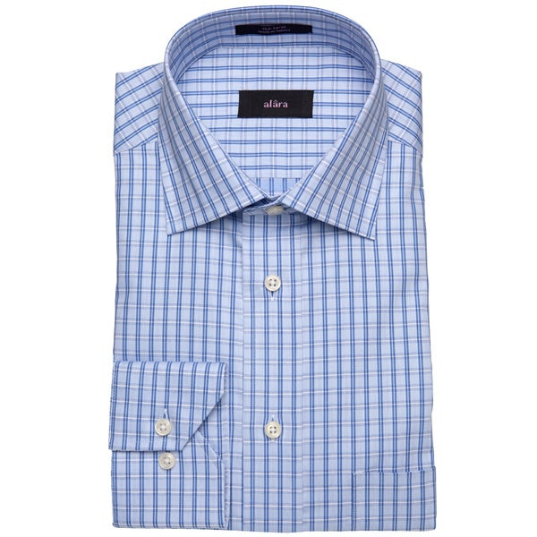 Alara Blue Small Window Pane Dobby Men's Dress Shirt