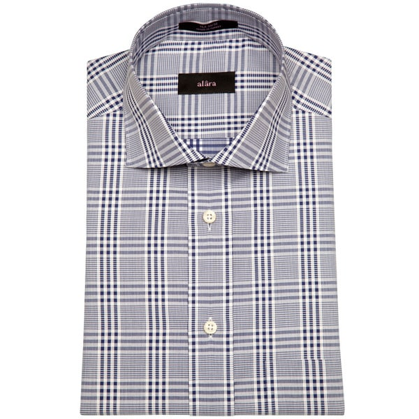 Alara Navy Gingham Plaid Men's Dress Shirt