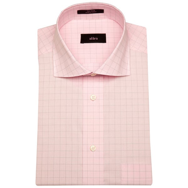 Alara Soft Pink Textured Fine Window Pane Men's Dress Shirt