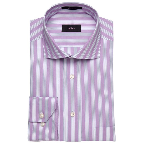 Alara St Tropez Stripe In Grape Men's Dress Shirt w/ Euro Collar