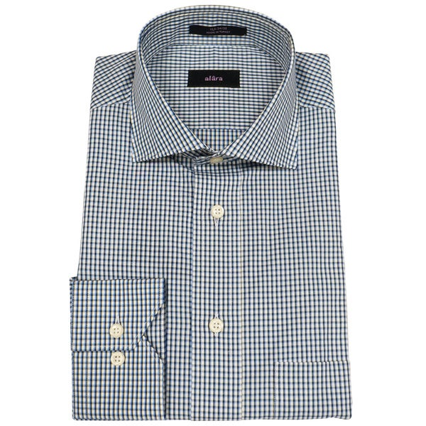 Alara Blue Melange Small Check Mens Dress Shirt