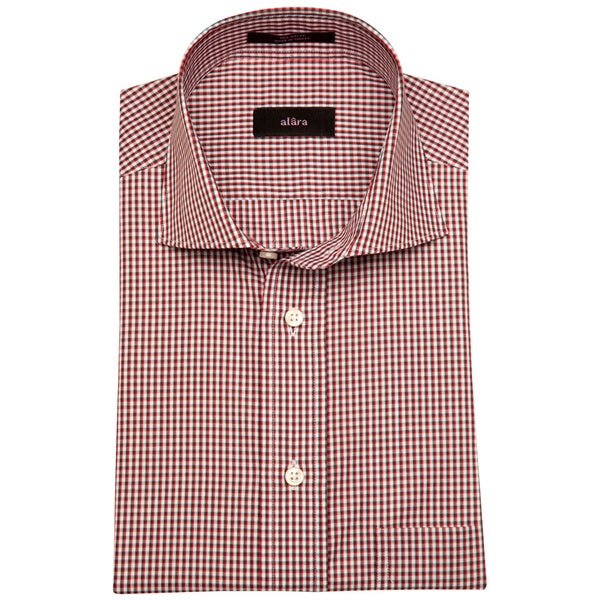 Alara Red And Grey Melange Small Check Men's Dress Shirt