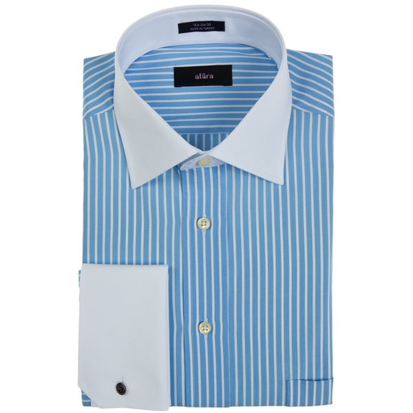 Alara White and Blue Stripe French Cuff Mens Dress Shirt