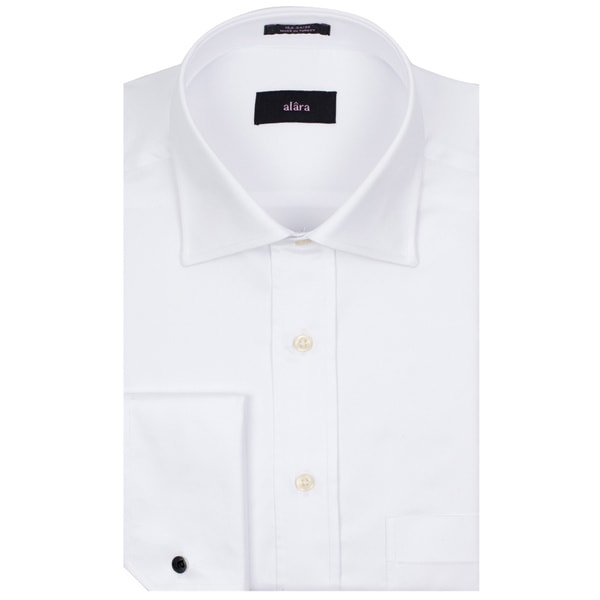 Alara Fine White Twill French Cuff Medium Spread Collar Men's Shirt In Egyptian Cotton