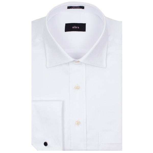 Alara Fine White Twill French Cuff Medium Spread Collar Men's Shirt In Egyptian Cotton