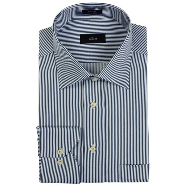Alara Navy Textured Stripe Men's Dress Shirt