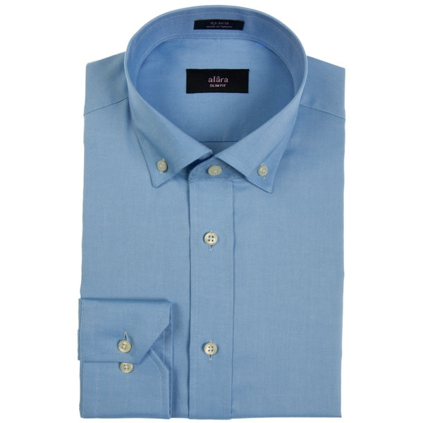 Alara Blue Pinpoint Oxford Button Collar Dress Shirt
