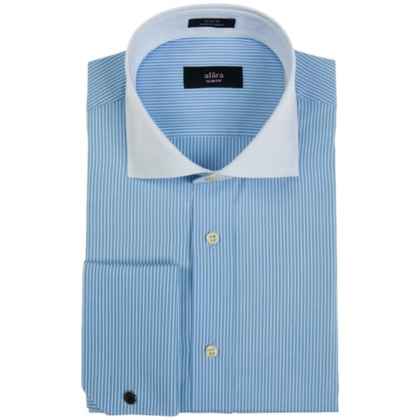 Alara Fine Blue Stripe French Cuff Dress Shirt