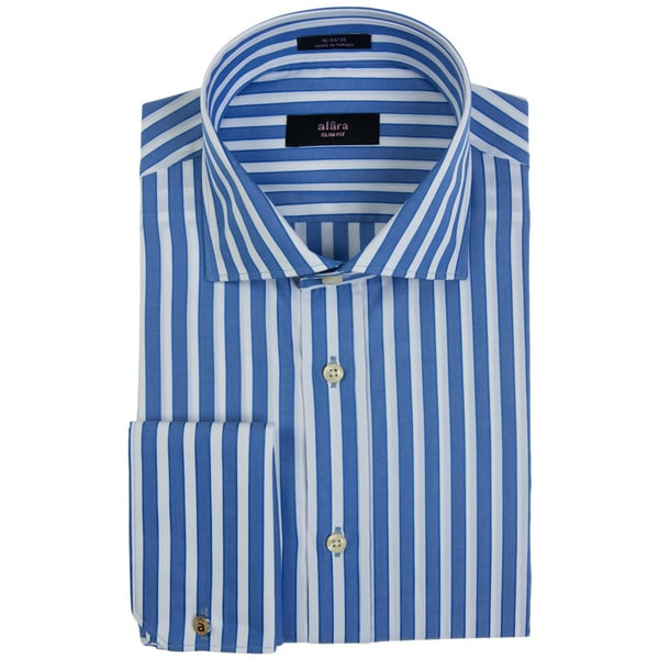Alara Navy Textured Bengal Stripe Dress Shirt