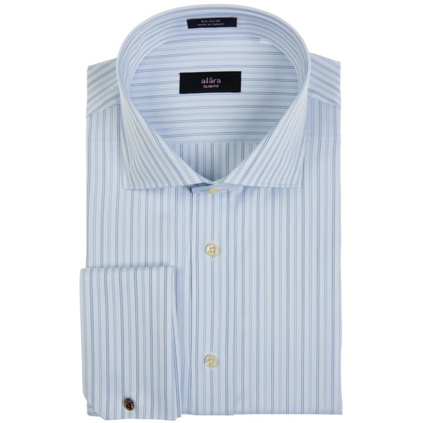 Alara Men's Navy Herringbone Stripe Dress Shirt