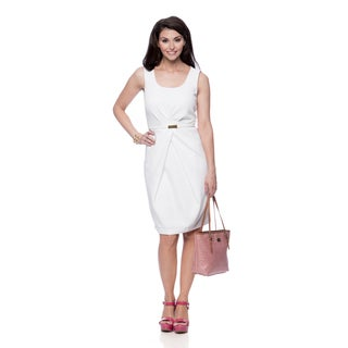Jones New York Women's White Missy Pleat Waist Sleeveless Dress