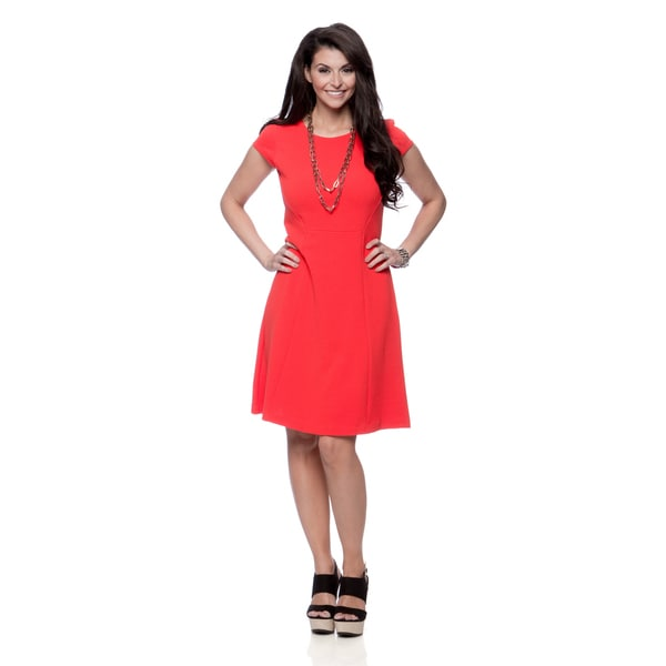 Jones New York Women's Red Coral Missy Cap Sleeve Crew Neck Dress