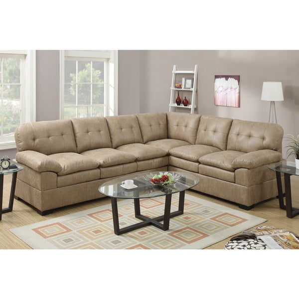 Derventa Velvet Sectional Sofa Set with Coffee and End Tables