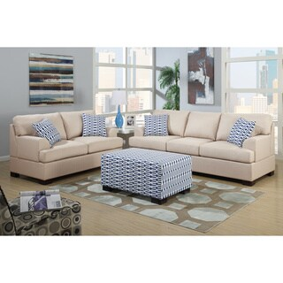 Poundex Moss 2-piece Living Room Set in Blended Linen with matching Ottoman and Pillows