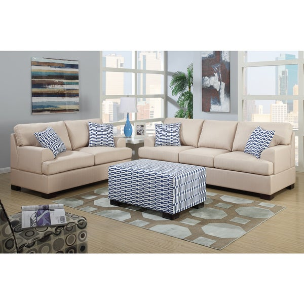 Poundex moss 2 piece living room set in blended linen with for Matching living room furniture sets