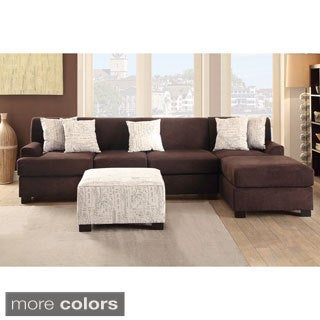 Narvik Large 2-piece Microsuede Sectional Sofa with Matching Ottoman