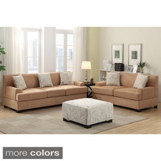 Narvik 2-piece Microsuede Living Room Set with Matching Ottoman and Pillows