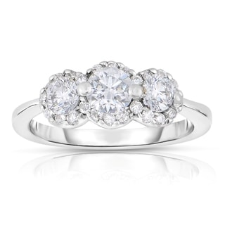 Eloquence 18k White Gold 1 1/4ct TDW Diamond 3-stone Ring (H-I, SI1-SI2)