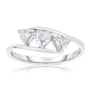 Eloquence 14k White Gold 2/5ct TDW Heart-shaped Diamond Ring (H-I, I1-I2)