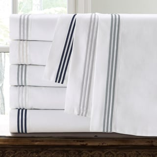 Echelon Three Line Hotel Collection Cotton Sateen Sheet Set with Pillowcase Separates