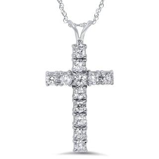 Bliss 14k White Gold 1ct TDW Diamond Cross Necklace (G-H, I1-I2)