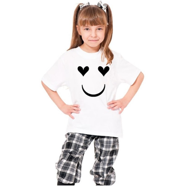Youth Printed 'Happy Face Heart Shaped Eyes' Cotton T-shirt