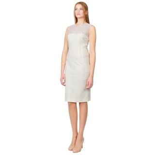 Stella McCartney Women's Creamy White Eyelet Lace Stretchy Cocktail Dress