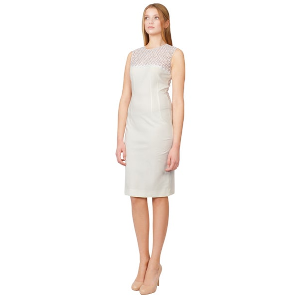Stella McCartney Women's Creamy White Eyelet Lace Stretchy Cocktail Dress