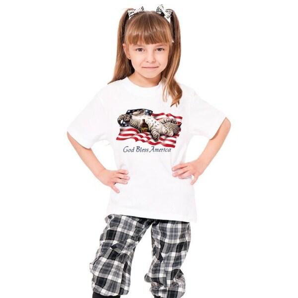 Youth 'God Bless America' Print Cotton T-shirt
