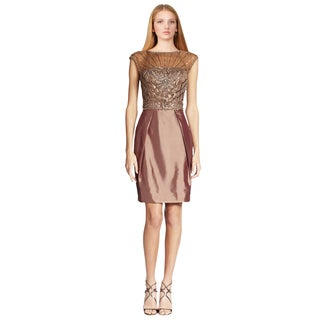 Sue Wong Women's Toffee Brown Pleated Illusion Yoke Beaded Cocktail Dress