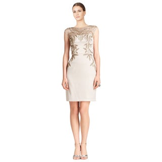 Sue Wong Women's Champagne Illusion Neckline Beaded Evening Dress