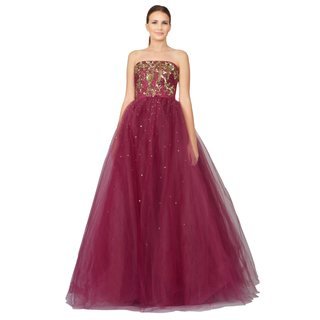 Marchesa Notte Women's Wine Embroidered Layered Tulle Strapless Evening Gown