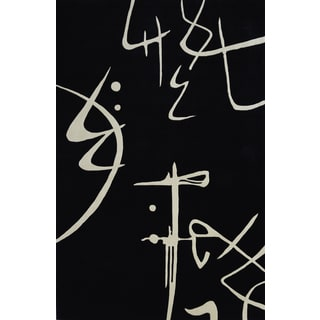 Koi Asian Script Hand-tufted Wool Area Rug (5'3 x 8')