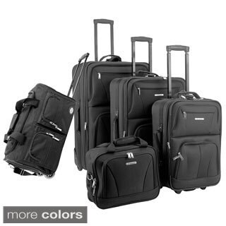 Rockland Solid 5-piece Expandable Rolling Upright Luggage Set