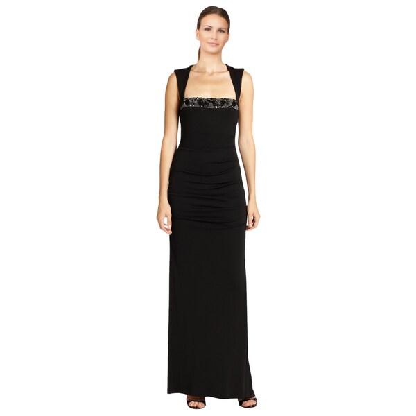 Nicole Miller Women's Black Felicity Geometric Beaded Jersey Gown