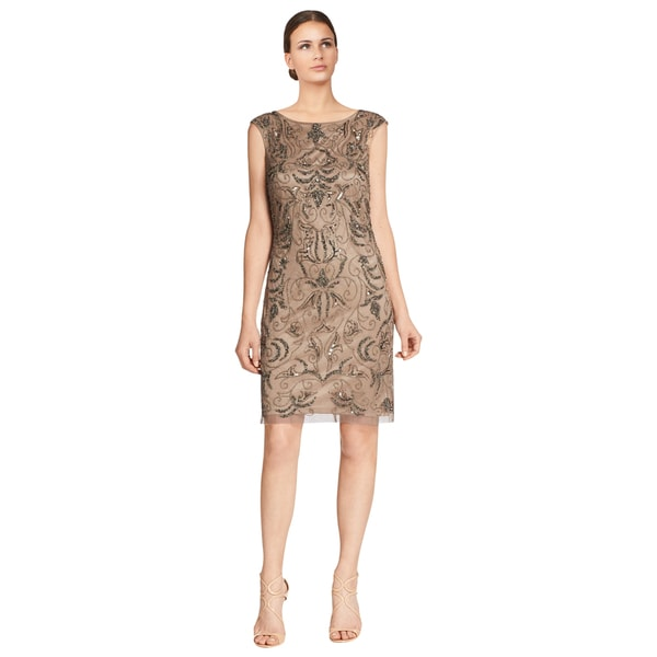 Adrianna Papell Women's Beige Beaded Cap-sleeve Shift Dress