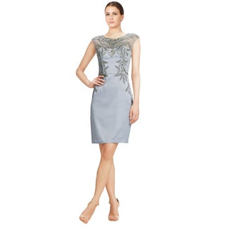 Sue Wong Women's Platinum Beaded and Embroidered Illusion Sheath Dress